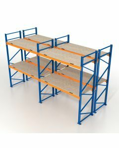 Palettenregal, Doppelregal mit Spanplatten, 5 Lagerebenen, H7500xB12350xT2x1100 mm, Fachlast 3800 kg, 78 Palettenplätze, Rahmen blau, Traverse orange
