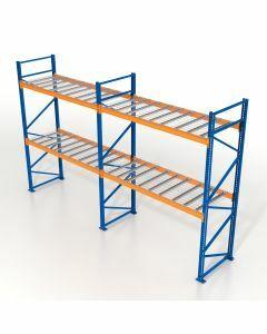 Palettenregal, Einfachregal mit Gitterböden, 3 Lagerebenen, H4000xB4825xT1100 mm, Fachlast 3800 kg, 15 Palettenplätze, Rahmen blau, Traverse orange