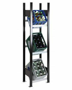 Getränkekistenregal, Grundfeld, 1 Kiste pro Ebene, H1800xB400xT300mm