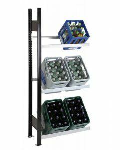 Getränkekistenregal, Anbaufeld, 3 Kisten pro Ebene, H1800xB1000xT300mm