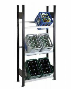 Getränkekistenregal, Grundfeld, 3 Kisten pro Ebene, H1800xB1000xT300mm