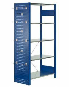 Lochplatten-Seitenwand, H1250xT400mm, RAL 5010 enzianblau