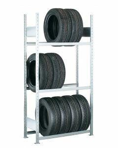 Räder-/Reifenregal, Grundregal, H4500xB1050xT400 mm, Fachlast 150 kg, Feldlast 2000 kg, verzinkt