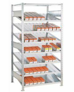 Kanbanregal, Anbauregal, beidseitig nutzbar, H2000xB1300xT600 mm, Ausführung - Ohne Trenn- und Seitenführungen, verzinkt
