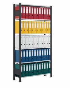 Büroregal, Grundfeld, Stecksystem - einseitig nutzbar mit Anschlagleiste, H1800xB750xT300 mm, schwarz