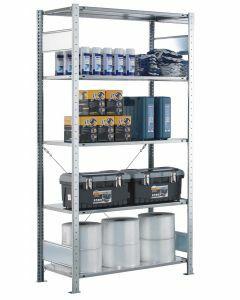 Steckregal Grundregal - Fachbodenregal mit Kreuzstreben, H2000xB1000xT300 mm, 5 Fachböden, Fachlast 150kg, RAL 7035 lichtgrau