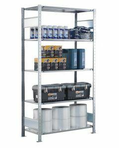 Steckregal Grundregal - Fachbodenregal mit Längenriegel, H2300xB750xT300 mm, 5 Fachböden, Fachlast 150kg, sendzimirverzinkt
