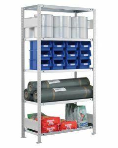 Steckregal Grundregal - Fachbodenregal mit Längenriegel, H1800xB1000xT500 mm, 4 Fachböden, Fachlast 250kg, RAL 7035 lichtgrau