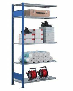 Steckregal Anbauregal - Fachbodenregal mit Längenriegel, H2000xB1300xT300 mm, 5 Fachböden, Fachlast 85kg, RAL 5010 / enzianblau
