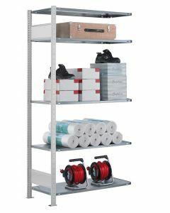 Steckregal Anbauregal - Fachbodenregal mit Längenriegel, H2000xB1300xT300 mm, 5 Fachböden, Fachlast 85kg, RAL 7035 lichtgrau
