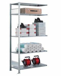 Steckregal Anbauregal - Fachbodenregal mit Längenriegel, H2000xB1300xT300 mm, 5 Fachböden, Fachlast 85kg, sendzimirverzinkt