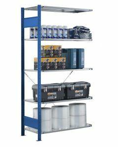 Steckregal Anbauregal - Fachbodenregal mit Kreuzstreben, H1800xB750xT300 mm, 4 Fachböden, Fachlast 150kg, RAL 5010 / enzianblau