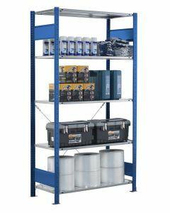 Steckregal Grundregal - Fachbodenregal mit Kreuzstreben, H1800xB1300xT300 mm, 4 Fachböden, Fachlast 150kg, RAL 5010 / enzianblau