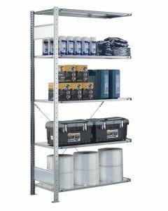 Steckregal Anbauregal - Fachbodenregal mit Kreuzstreben, H1800xB750xT300 mm, 4 Fachböden, Fachlast 150kg, sendzimirverzinkt