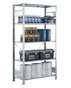 Steckregal Grundregal - Fachbodenregal mit Kreuzstreben, H1800xB1300xT400 mm, 4 Fachböden, Fachlast 150kg, sendzimirverzinkt