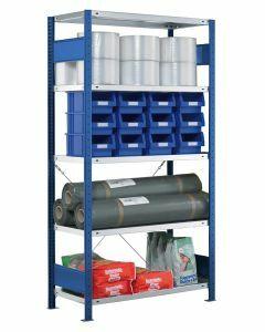 Steckregal Grundregal - Fachbodenregal mit Kreuzstreben, H1800xB1300xT300 mm, 4 Fachböden, Fachlast 250kg, RAL 5010 / enzianblau