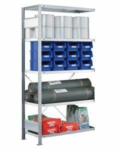 Steckregal Anbauregal - Fachbodenregal mit Kreuzstreben, H1800xB750xT300 mm, 4 Fachböden, Fachlast 250kg, sendzimirverzinkt