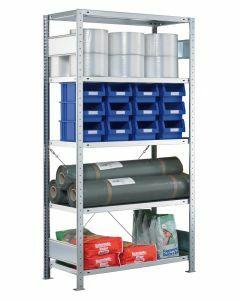Steckregal Grundregal - Fachbodenregal mit Kreuzstreben, H1800xB750xT800 mm, 4 Fachböden, Fachlast 250kg, sendzimirverzinkt