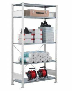 Steckregal Grundregal - Fachbodenregal mit Kreuzstreben, H2300xB1000xT350 mm, 5 Fachböden, Fachlast 85kg, RAL 7035 lichtgrau