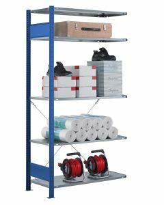 Steckregal Anbauregal - Fachbodenregal mit Kreuzstreben, H2500xB1300xT300 mm, 6 Fachböden, Fachlast 85kg, RAL 5010 / enzianblau