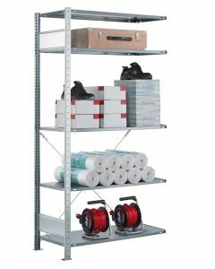 Steckregal Anbauregal - Fachbodenregal mit Kreuzstreben, H2500xB1300xT300 mm, 6 Fachböden, Fachlast 85kg, sendzimirverzinkt