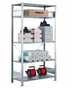 Steckregal Grundregal - Fachbodenregal mit Kreuzstreben, H2000xB750xT300 mm, 5 Fachböden, Fachlast 150kg, sendzimirverzinkt