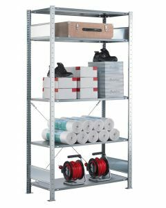 Steckregal Grundregal - Fachbodenregal mit Kreuzstreben, H2000xB750xT400 mm, 5 Fachböden, Fachlast 150kg, sendzimirverzinkt