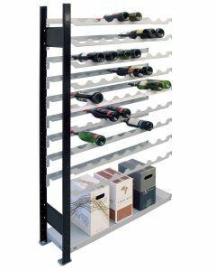 Weinregal Metallregal, Anbauregal, H2300xB1000xT250 mm, 12 Lagerebenen für 96 Flaschen, schwarz/silber