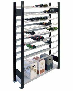 Weinregal Metallregal, Grundregal, H2300xB1000xT250 mm, 12 Lagerebenen für 96 Flaschen, schwarz/silber