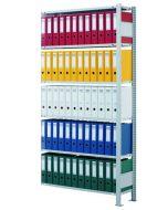 Büroregal, Anbaufeld, Stecksystem - einseitig nutzbar ohne Anschlagleiste, H1800xB750xT300mm