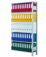 Büroregal, Anbaufeld, Stecksystem - einseitig nutzbar mit Anschlagleiste, H1800xB750xT300mm