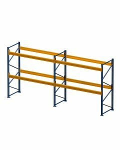 Palettenregal, Komplettregal, 3 Lagerebenen, H2500xB3950xT1100 mm, Fachlast 3000 kg, 12 Palettenplätze, Rahmen blau, Traverse orange