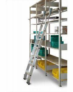 Aluminium-Regalleiter - fahrbar, Senkrechte Eingehehöhe 2,39 m - Schulte Lagertechnik