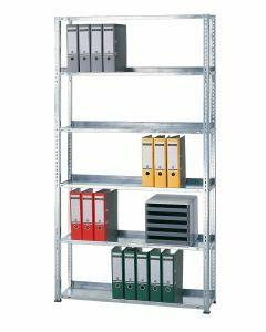 Büroregal, Grundfeld, Schraubystem - einseitig nutzbar ohne Anschlagleiste, H1800xB1300xT300mm