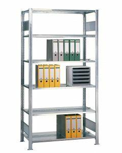Büroregal Stecksystem, Grundregal, beidseitig  nutzbar, ohne Mittelanschlag, H2000xB750xT600, Fachlast 150kg, sendzimirverzinkt