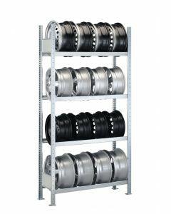 Felgenregal, Grundregal, H2000xB1500xT300 mm, Fachlast 150 kg, Feldlast 1300 kg, verzinkt