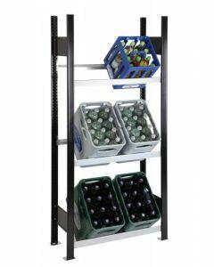 Getränkekistenregal, Grundfeld, 2 Kisten pro Ebene, H1800xB750xT300mm