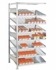 Kanbanregal, Anbauregal, beidseitig nutzbar, H2000xB1300xT800 mm, Ausführung - Mit Trenn- und Seitenführungen, verzinkt