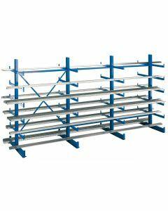 Kragarmregal K 1000, Set, beidseitig nutzbar, H2000xB6250xT2x500 mm, RAL 5010 enzianblau