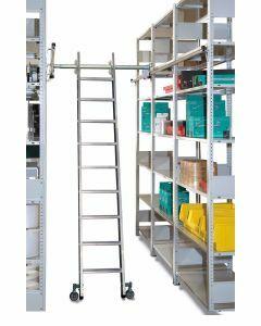 Aluminium-Regalleiter - seitlich verschiebbar, Senkrechte Eingehehöhe 2,44 m - Schulte Lagertechnik