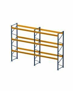 Palettenregal, Komplettregal, 4 Lagerebenen, H4500xB3950xT1100 mm, Fachlast 3000 kg, 16 Palettenplätze, Rahmen blau, Traverse orange