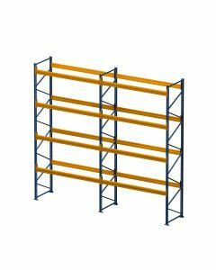 Palettenregal, Komplettregal, 5 Lagerebenen, H6000xB3950xT1100 mm, Fachlast 3000 kg, 20 Palettenplätze, Rahmen blau, Traverse orange