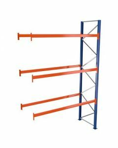 Palettenregal, Anbauregal, 4 Lagerebenen, H5000xB2786xT1100 mm, Palettengewicht bis 610 kg,  12 Palettenplätze, RAL 5010 / RAL 2004