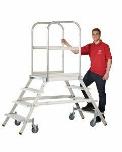 Aluminium-Podestleiter, beidseitig begehbar, mit Rollen, Stufenanzahl 8, Arbeitshöhe 3,9m