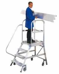Aluminium-Podestleiter, einseitig begehbar, mit Rollen, Stufenanzahl 5, Arbeitshöhe 3,20m