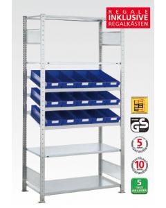 Schrägbodenregal - mit Regalkästen, Grundfeld, H2000xB1000xT300mm