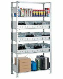 Kleinteile-Schüttgutmuldenregal, Anbaufeld, einseitig nutzbar, H2000xB1000xT500mm