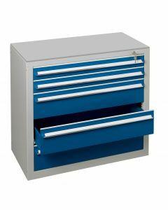 Schubladenblock, H1100xB1000xT500mm, RAL 5010 enzianblau - RAL 7035 lichtgrau