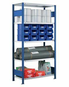 Steckregal Grundregal - Fachbodenregal mit Längenriegel, H1800xB750xT600 mm, 4 Fachböden, Fachlast 250kg, RAL 5010 / enzianblau