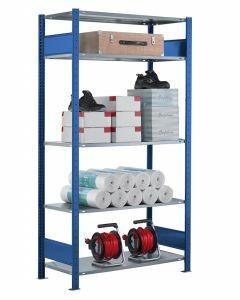 Steckregal Grundregal - Fachbodenregal mit Längenriegel, H2000xB1300xT300 mm, 5 Fachböden, Fachlast 85kg, RAL 5010 / enzianblau